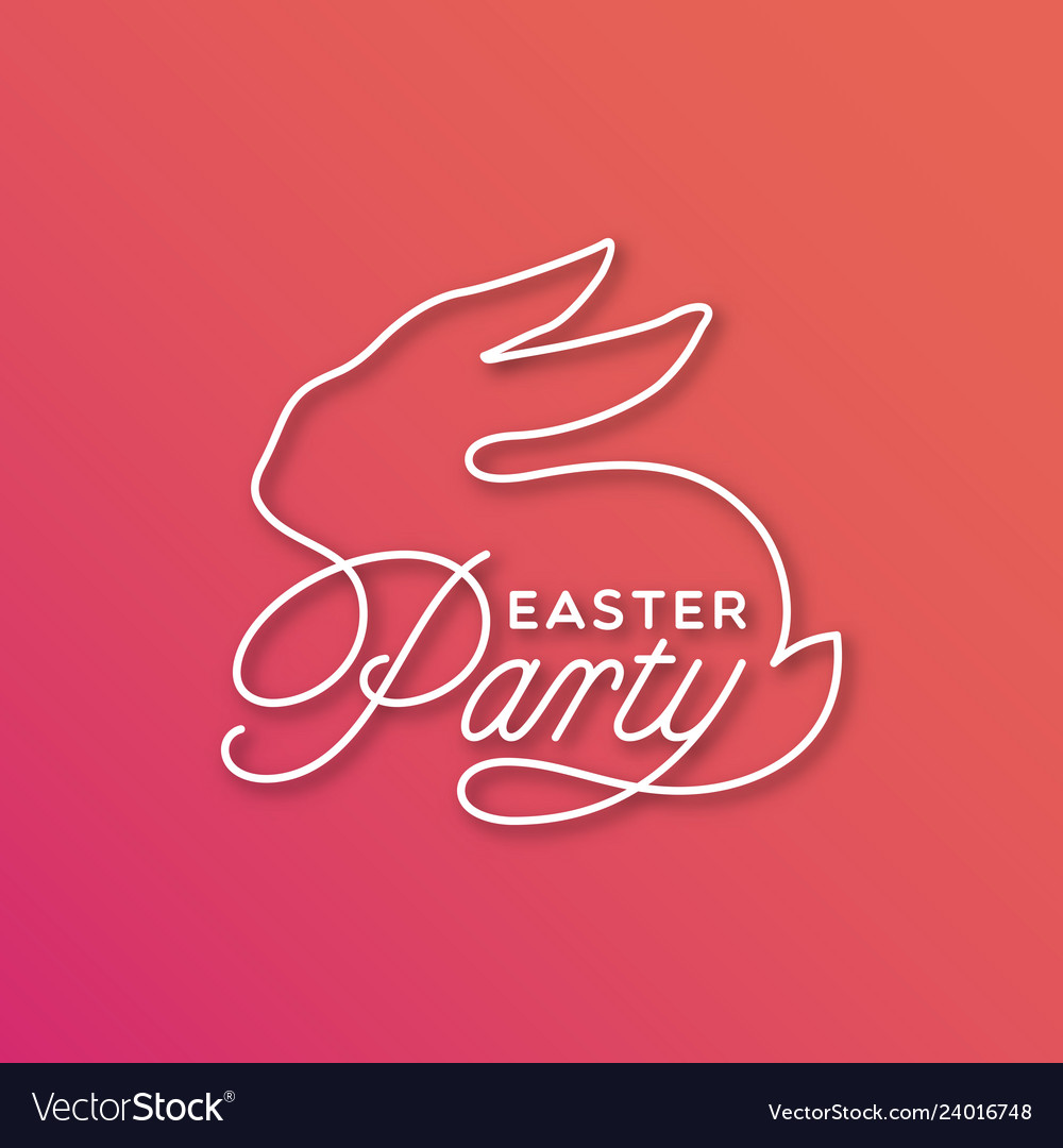 Easter party linear lettering