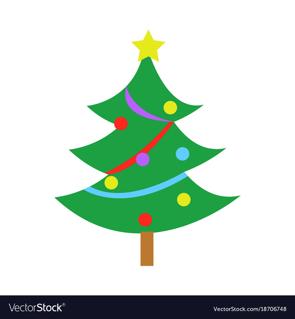 fully decorated simple pine christmas tree vector image - Fully Decorated Christmas Tree