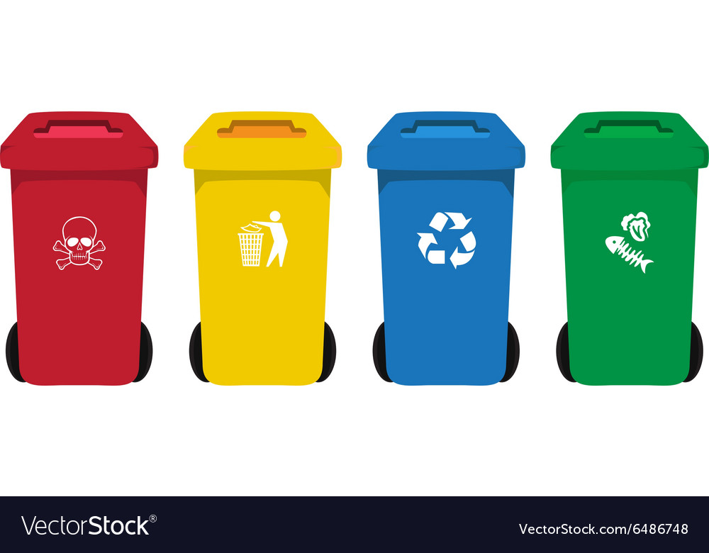 Many color wheelie bins set with waste icon