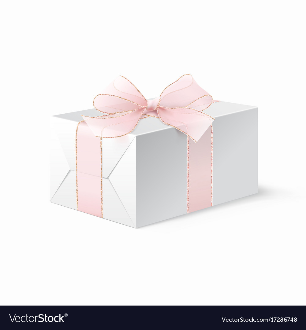 Realistic mock up white locked box with bow