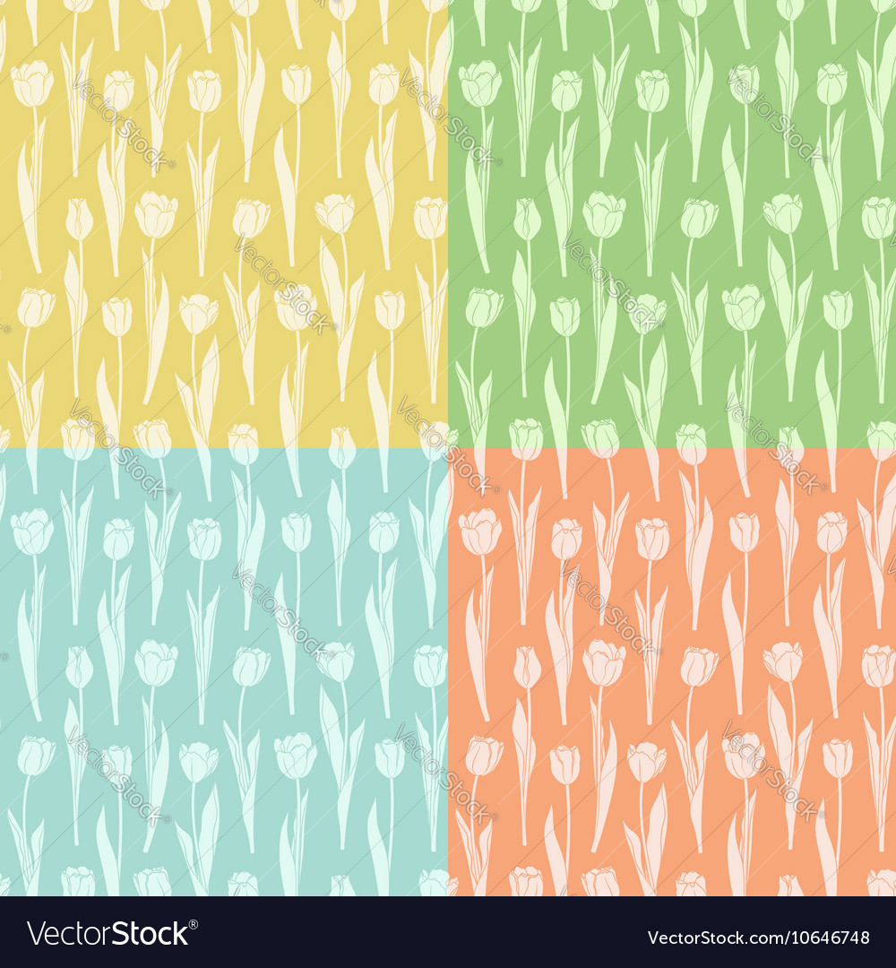 Set of seamless patterns with tulips