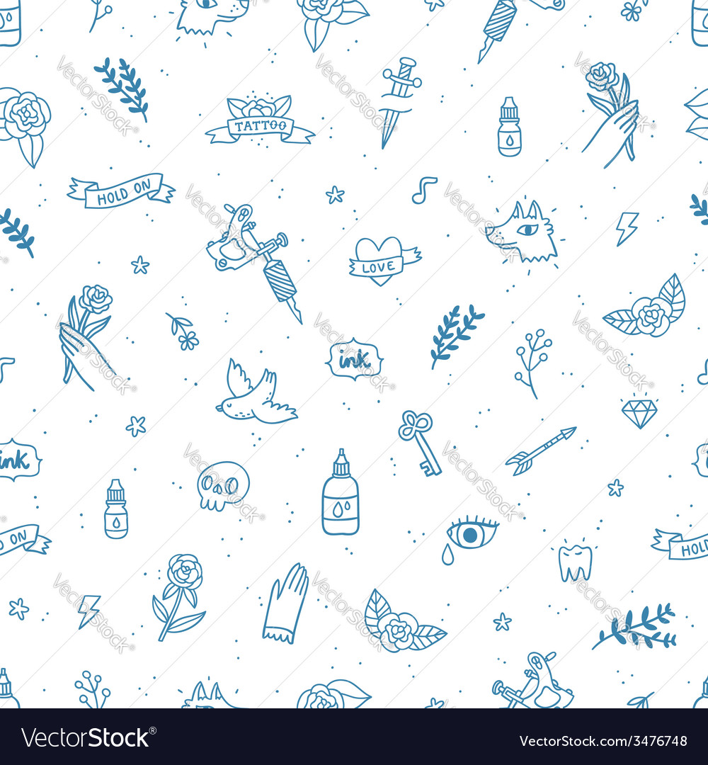 Tattoos doodle seamless pattern vector image
