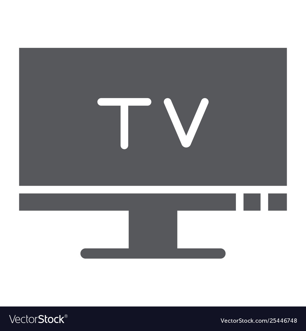 Tv glyph icon screen and display television sign