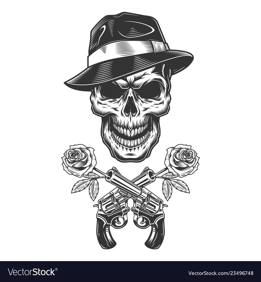 Vintage monochrome gangster skull