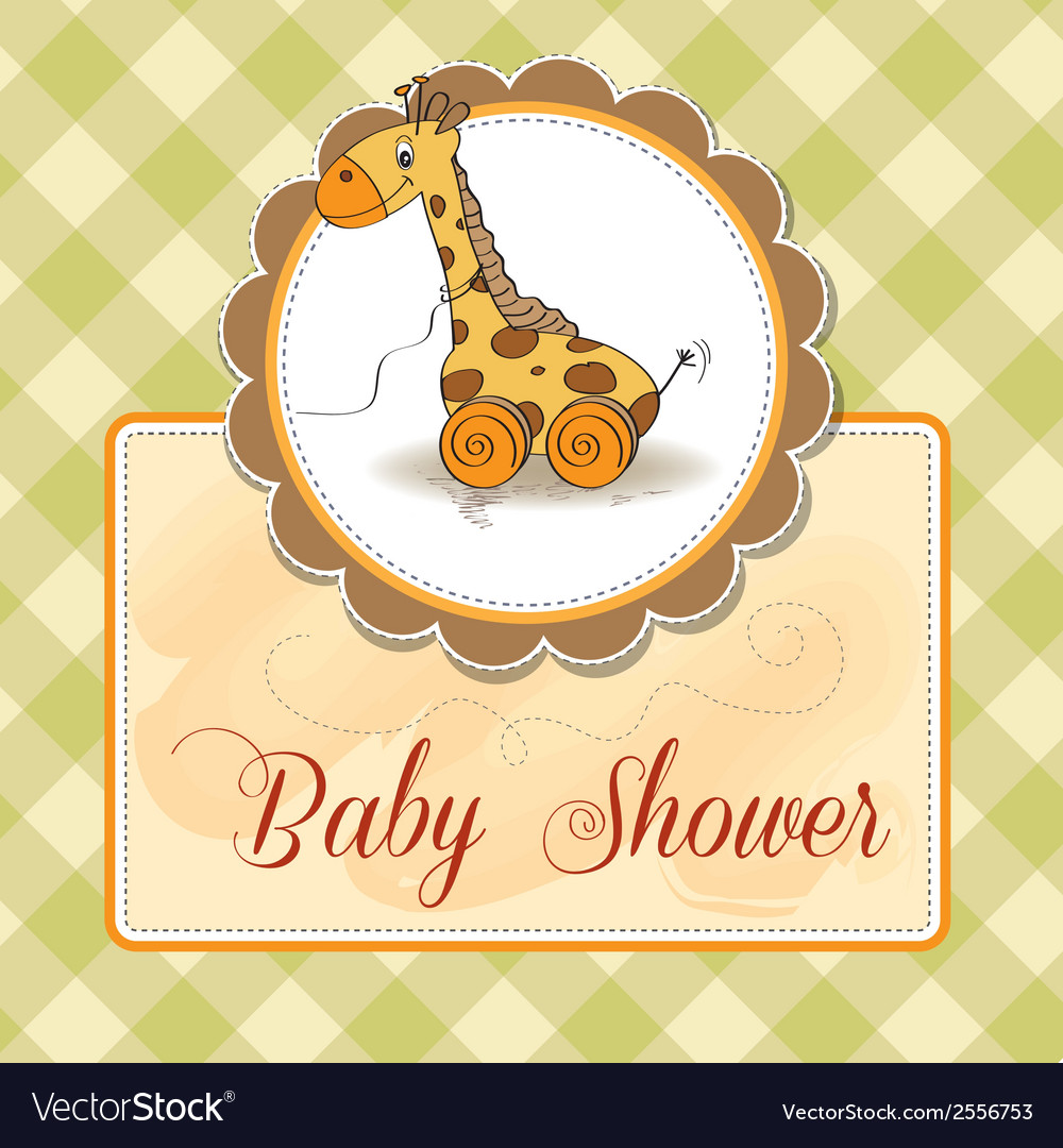 Baby Shower Card With Cute Giraffe Royalty Free Vector Image