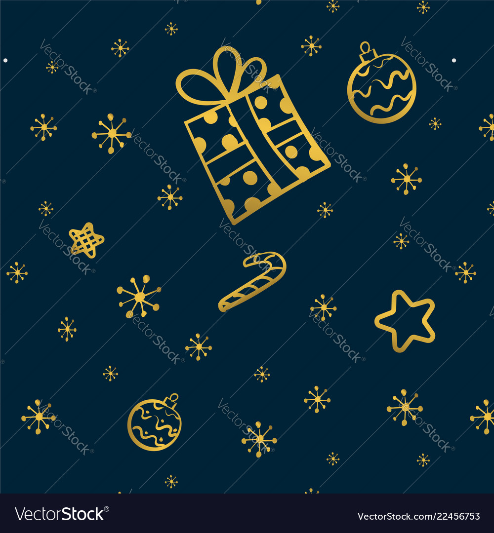 Christmas gold seamless pattern with gift stars