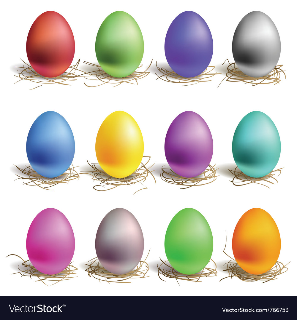 Color easter eggs vector image