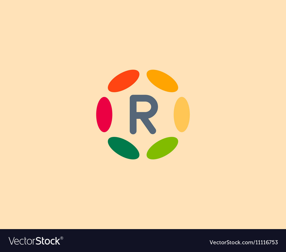 Color letter R logo icon design Hub frame vector image