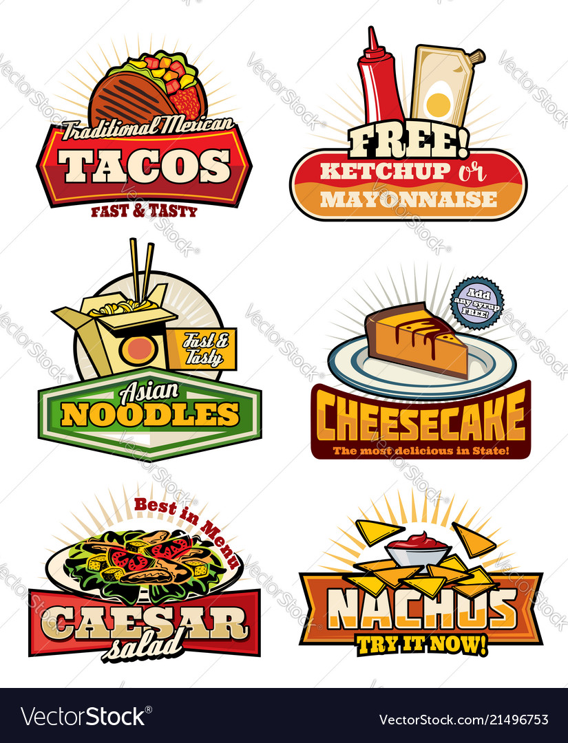 Fast Food Retro Symbols With Snack And Desserts Vector Image