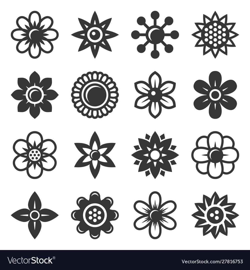 Flower icons set on white background