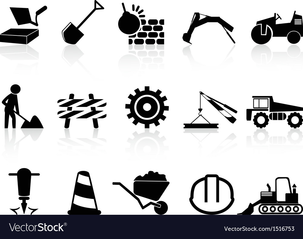 Heavy construction icons set vector image