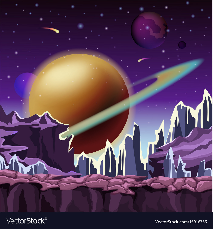 Ice rocks on cartoon planet scenery vector image