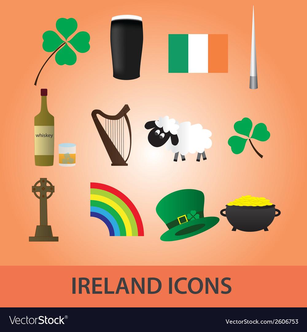 Ireland icons set eps10 vector image