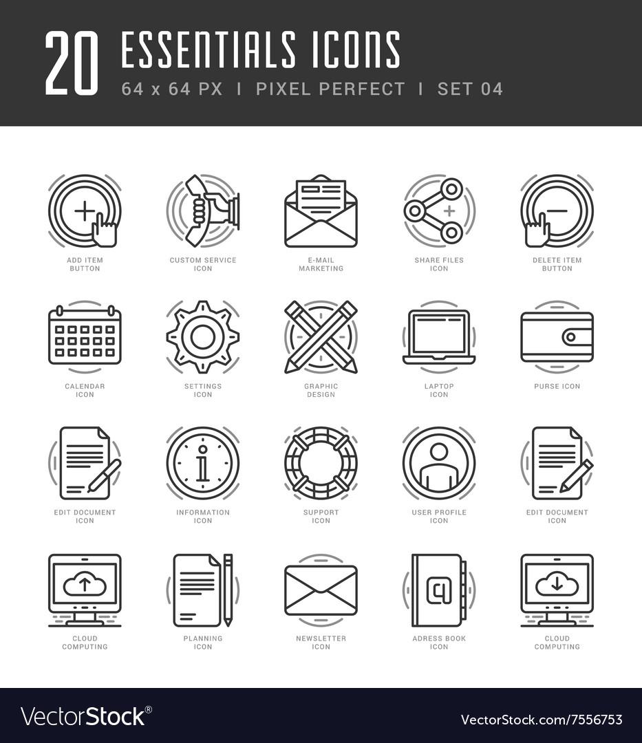 Line icons set Trendy Modern Flat thin linear