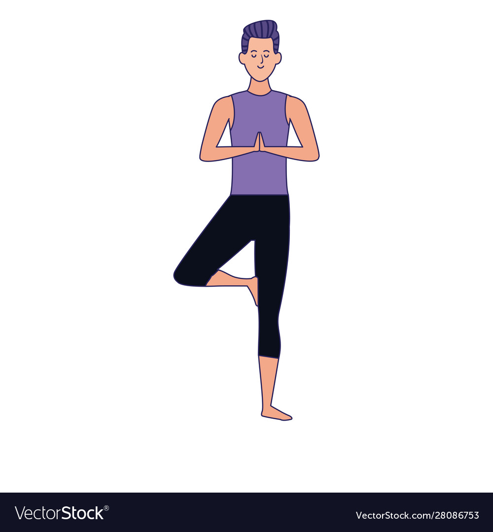 Man Practicing Yoga Tree Pose Icon Royalty Free Vector Image Check out our yoga therapy section to learn which yogic practices. vectorstock