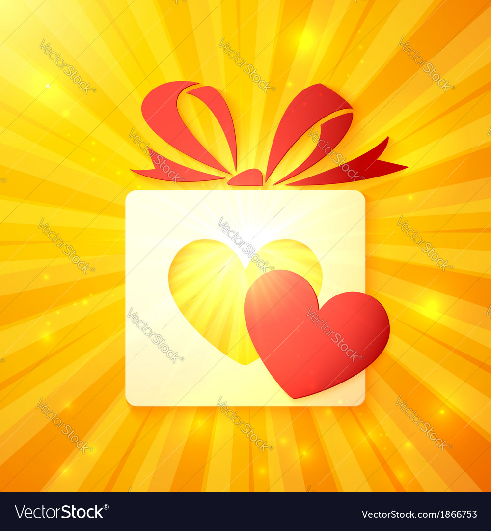Paper gift box with cutout red heart vector image