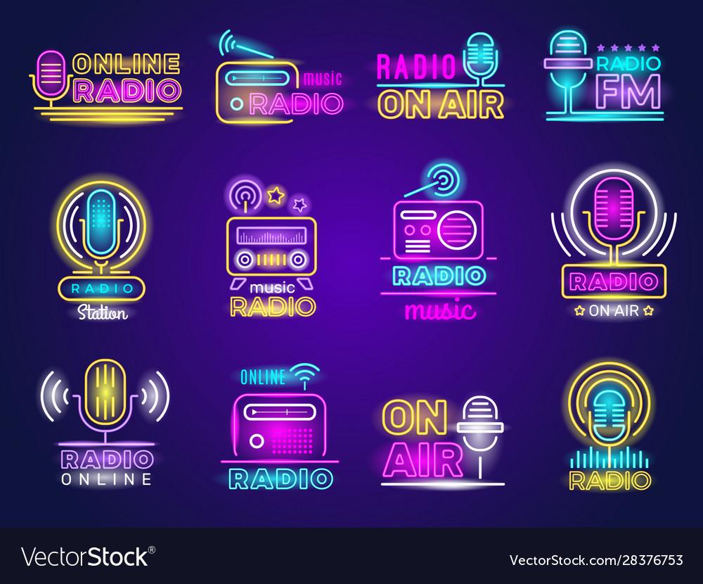 Radio neon broadcasting glow effect colored logo