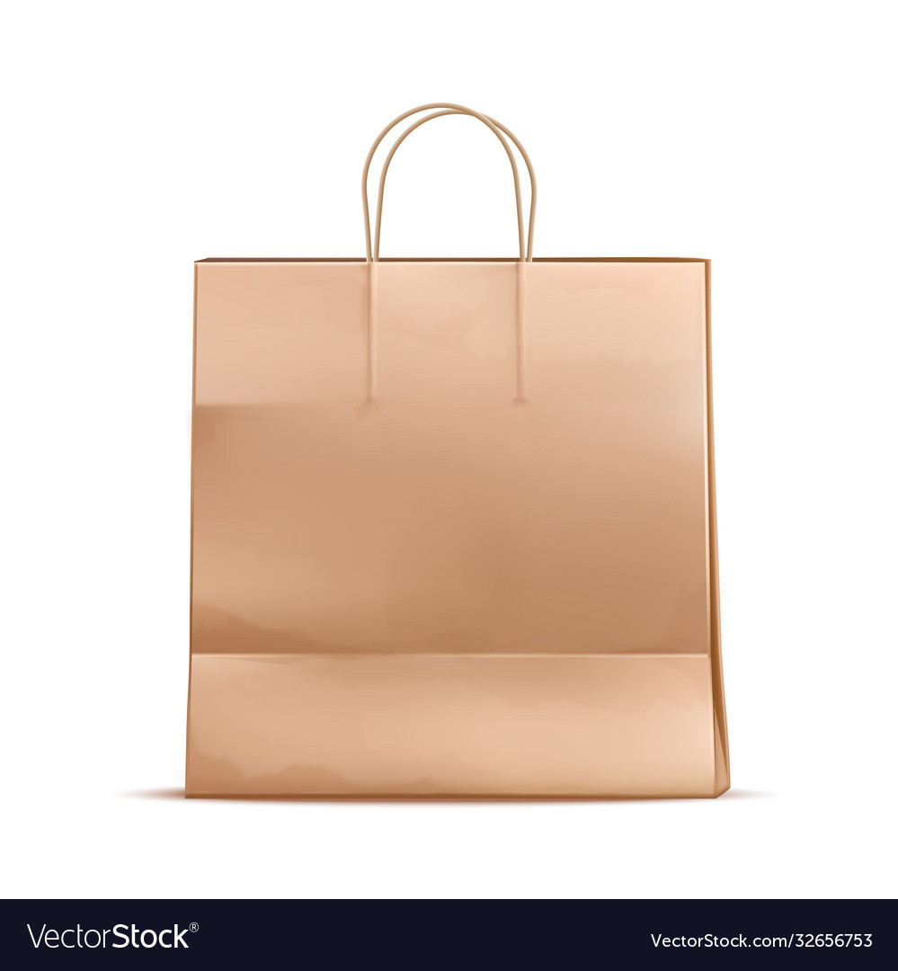 Realistic paper shopping bag mock up
