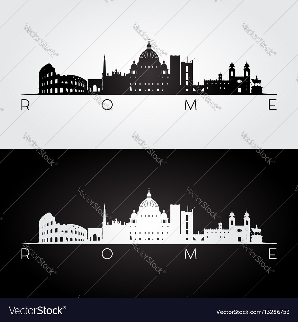 Rome skyline and landmarks silhouette