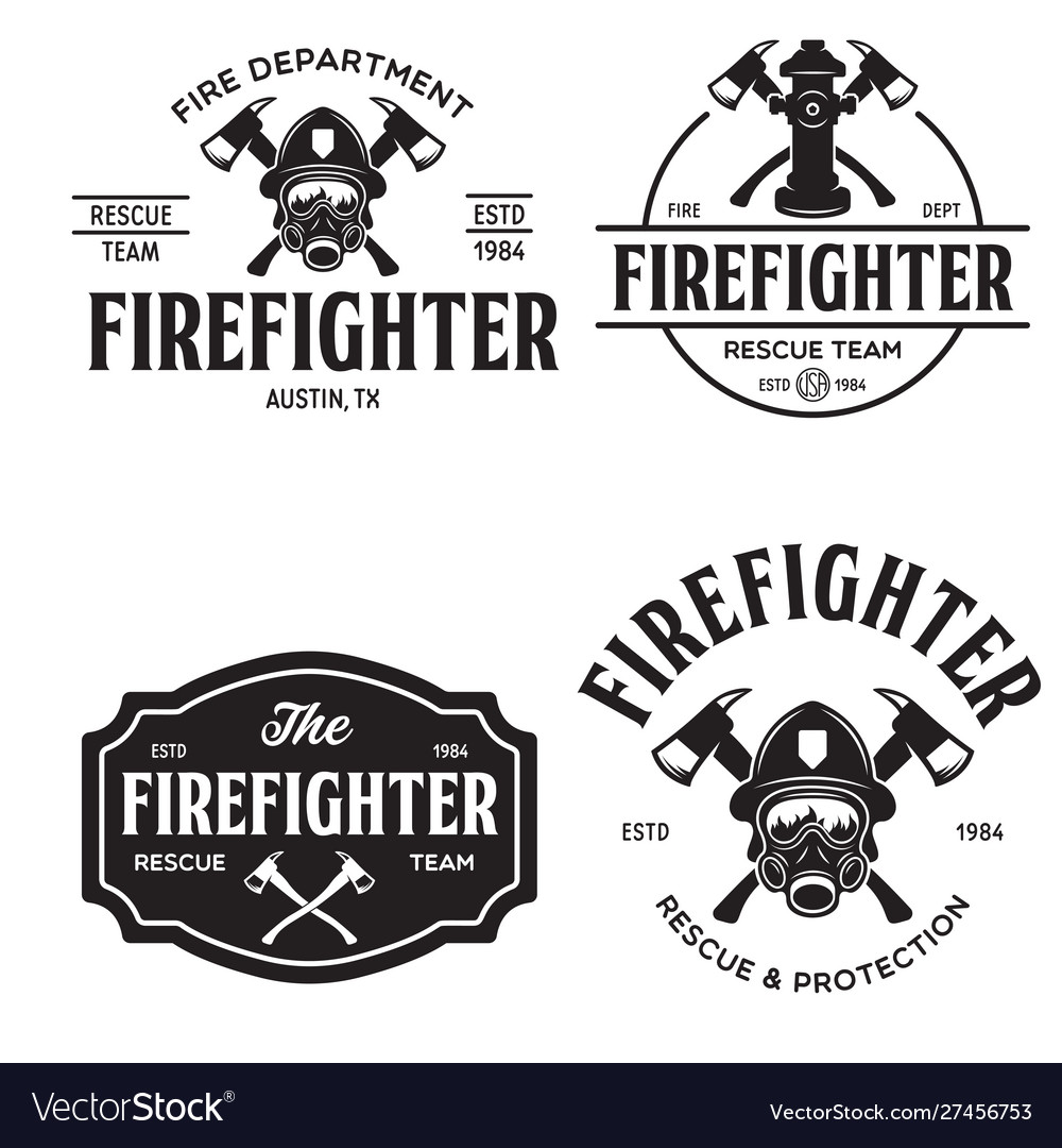 Set firefighter volunteer rescue team emblems