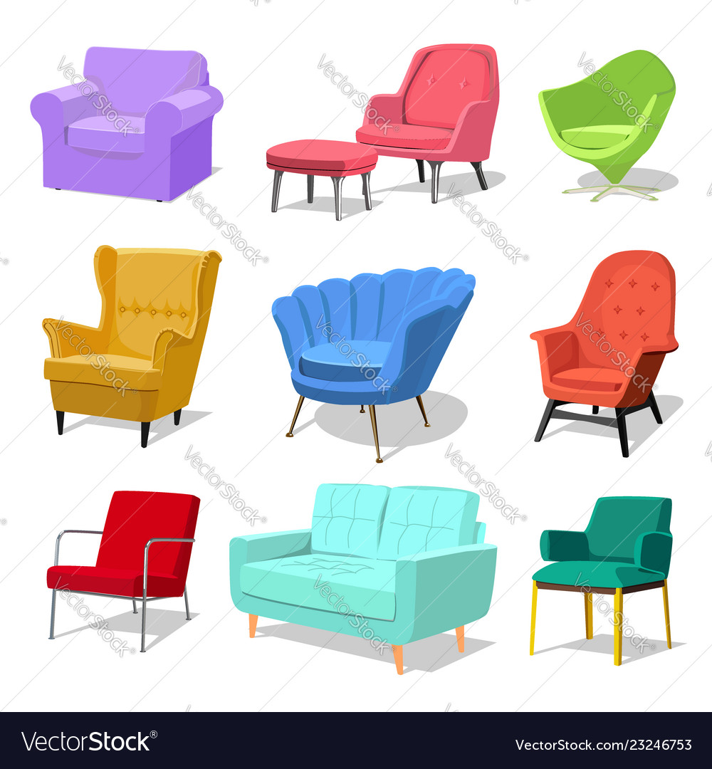 Beau Set Of Modern Colorful Soft Armchair And Sofa With Vector Image