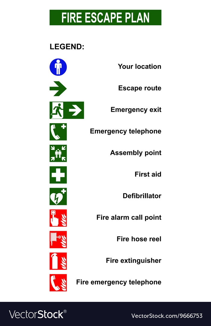 Set Of Symbols For Fire Escape Evacuation Plans Vector Image
