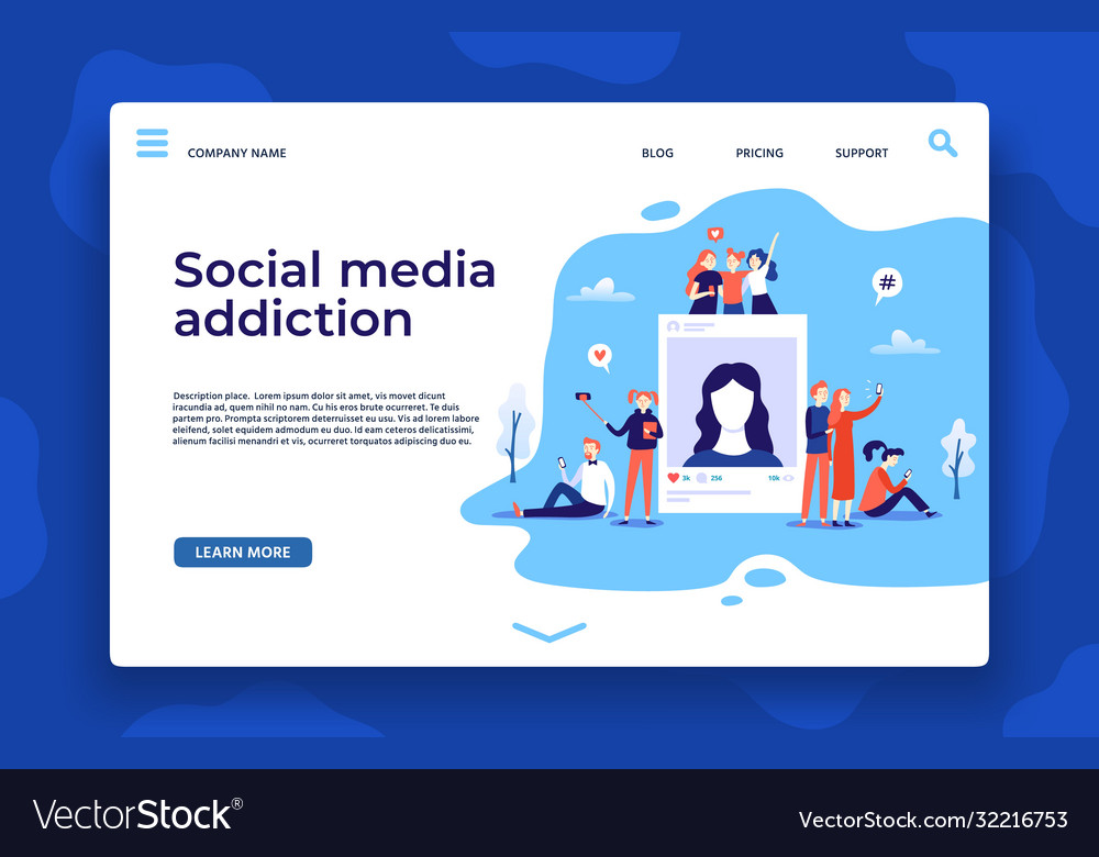 Social media addiction landing page young people