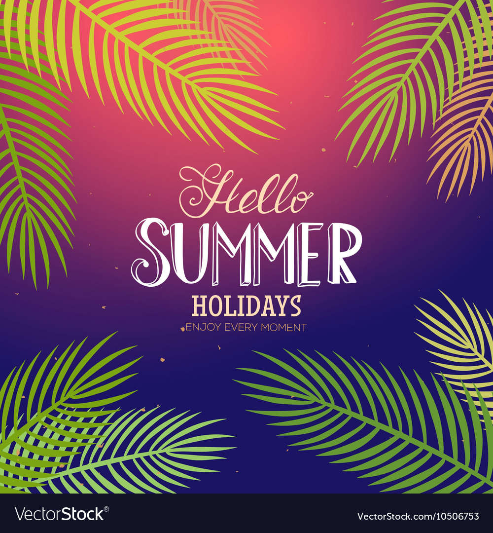 Summer lettering with palm