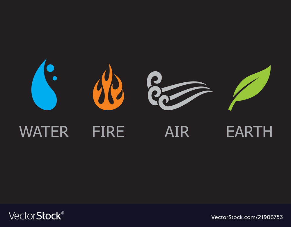Symbols four elements - water fire air and e
