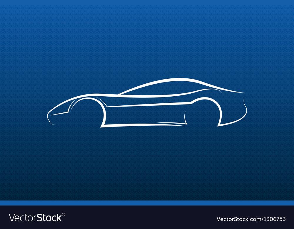 White car logo on blue texture vector image