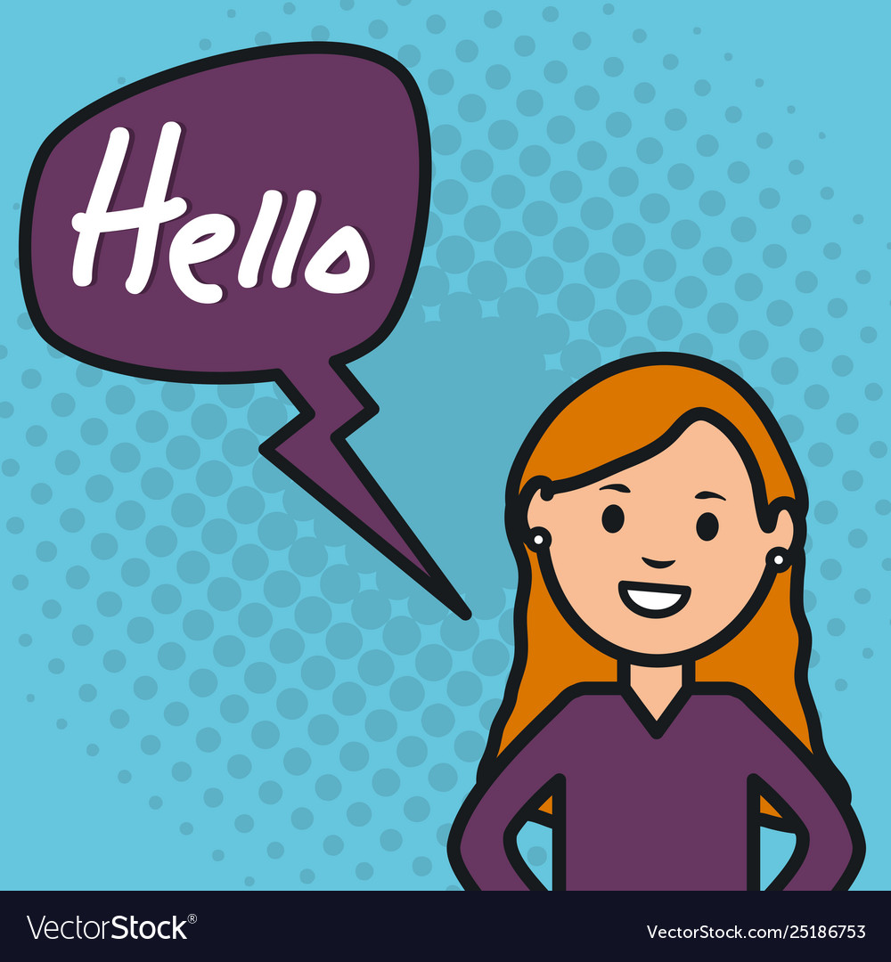 Woman and speech bubble with hello message