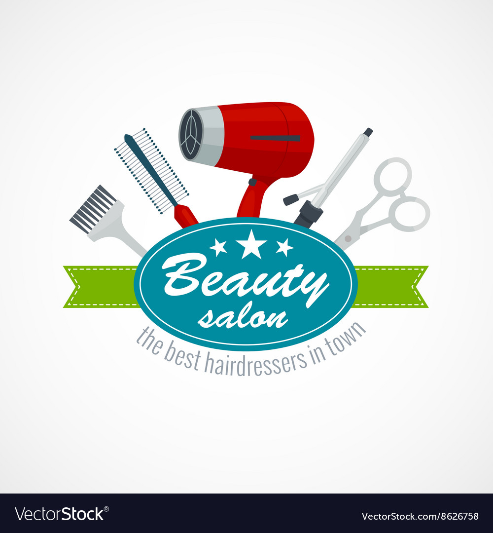Beauty salon label with hair dryer scissors