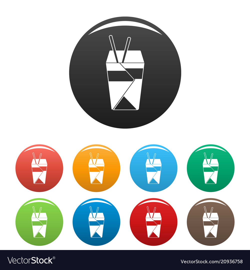 Chinese fast food icons set color