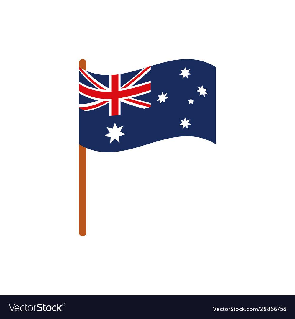 Flag in pole emblem australia icon on white
