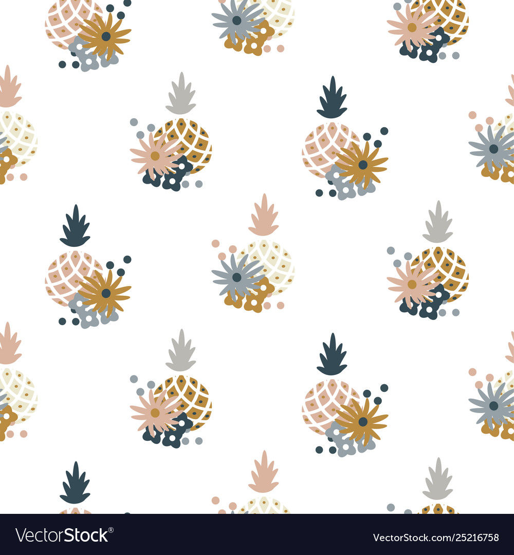 Floral pineapple fabric wallpaper seamless