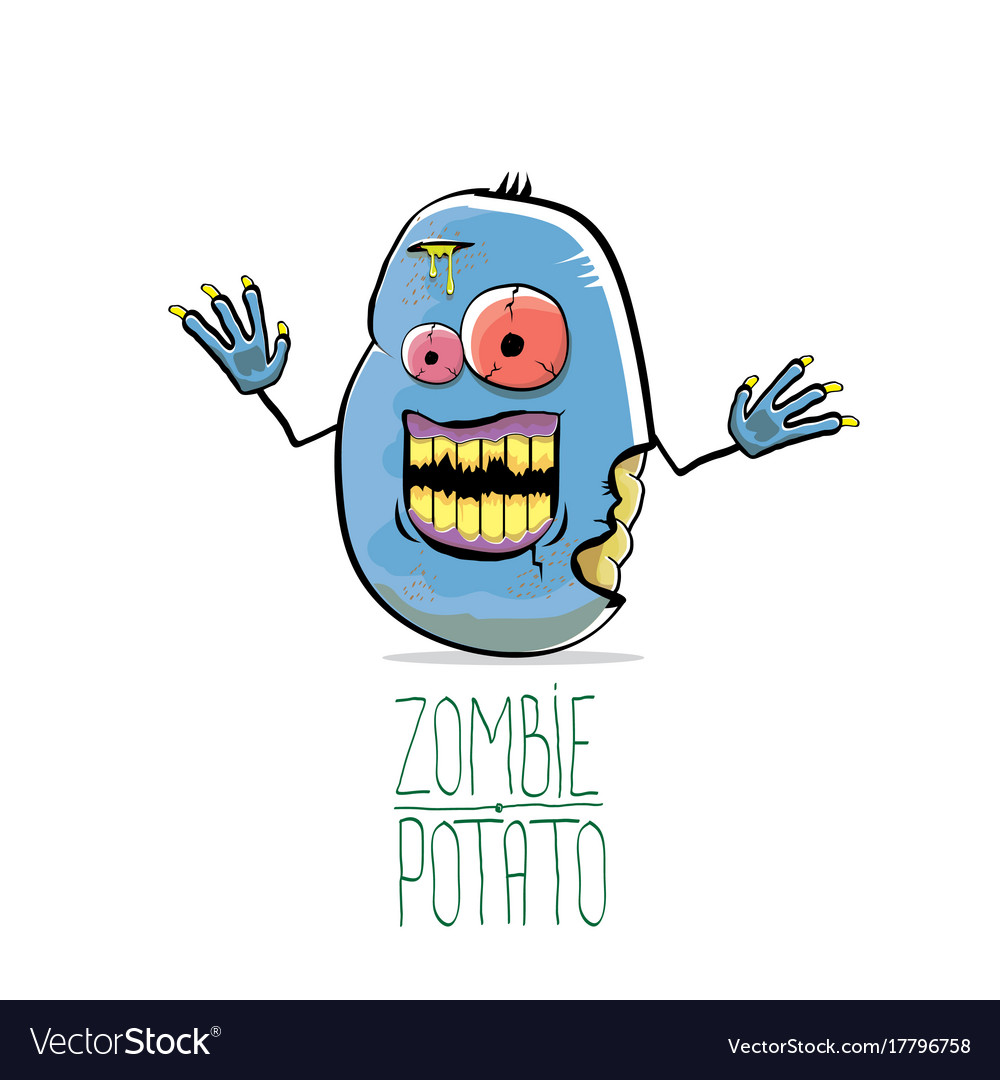 Funny cartoon cute blue zombie potato vector image