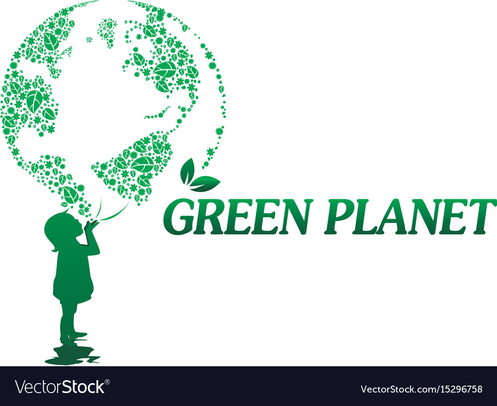 Girl and green planet of flowers vector image