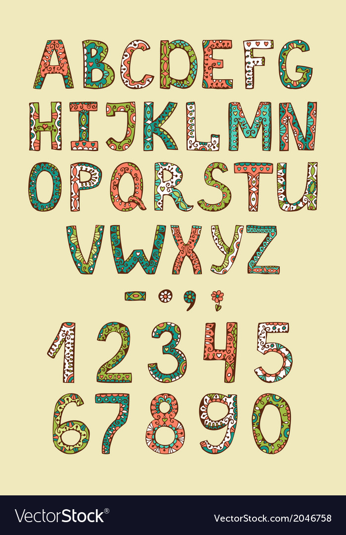 Hand drawn alphabet abs letters