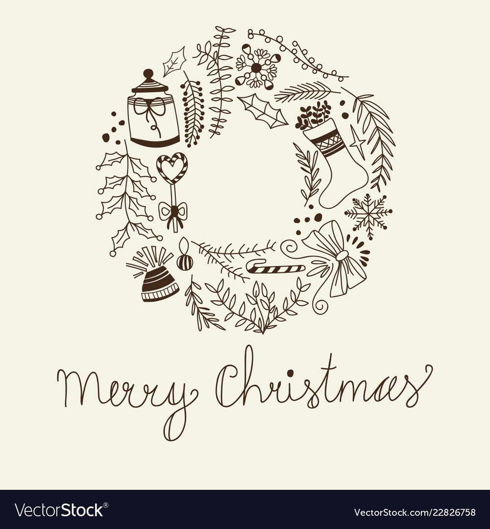 Monochrome merry christmas circle frame vector