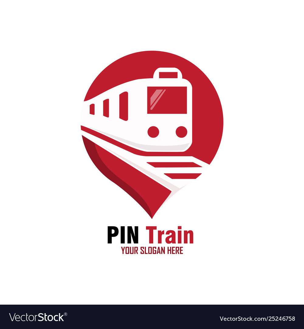 Red Pin Train Logo Design Royalty Free Vector Image