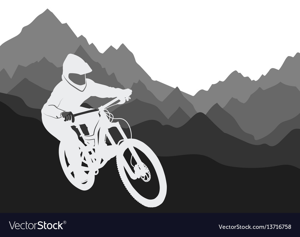 Silhouette of a racer descending on a bicycle on a vector image