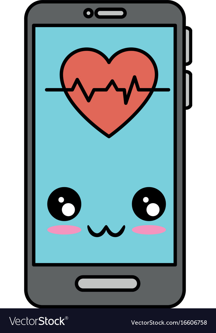 Smartphone Medical App Kawaii Cartoon Royalty Free Vector