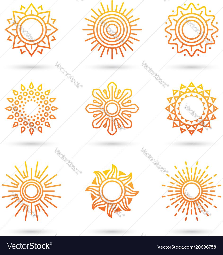 Sun icon set isolated on white background