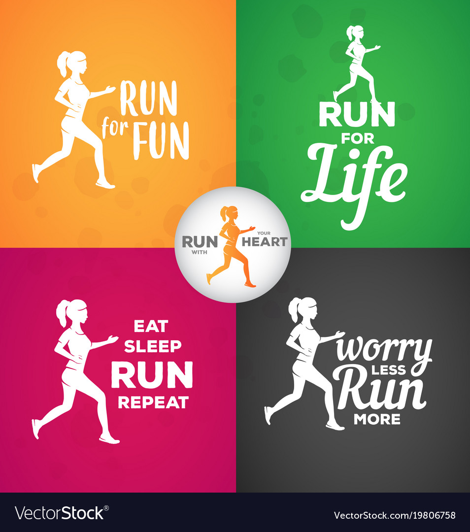 Typographic Motivational Running Quotes Royalty Free Vector