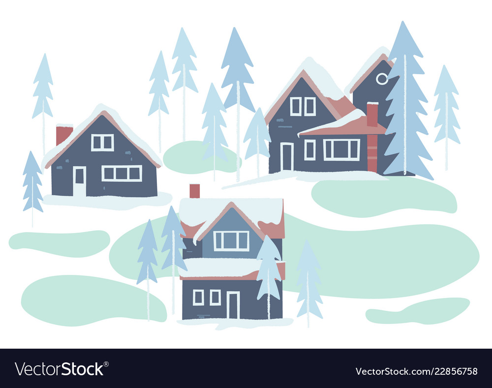 Winter snowy houses and nature