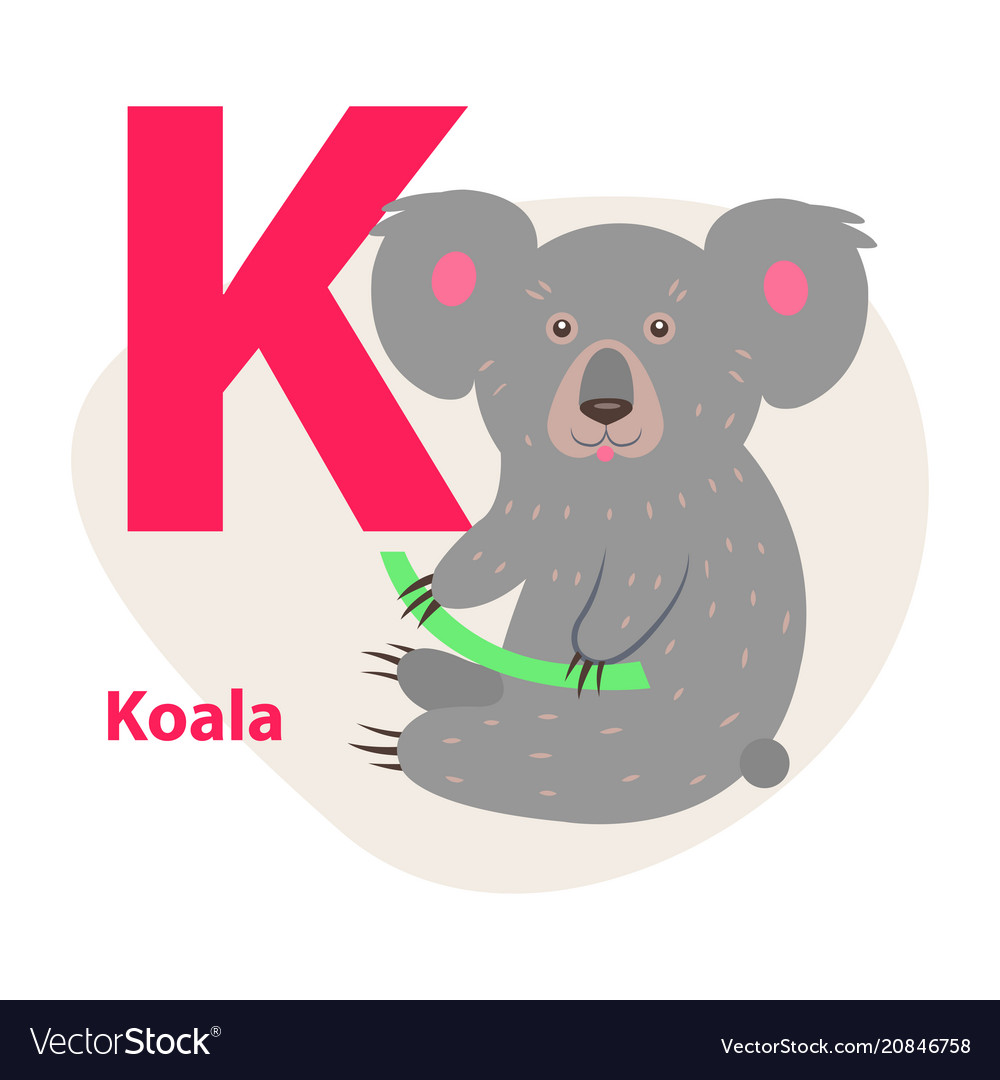 Zoo abc letter with cute koala cartoon