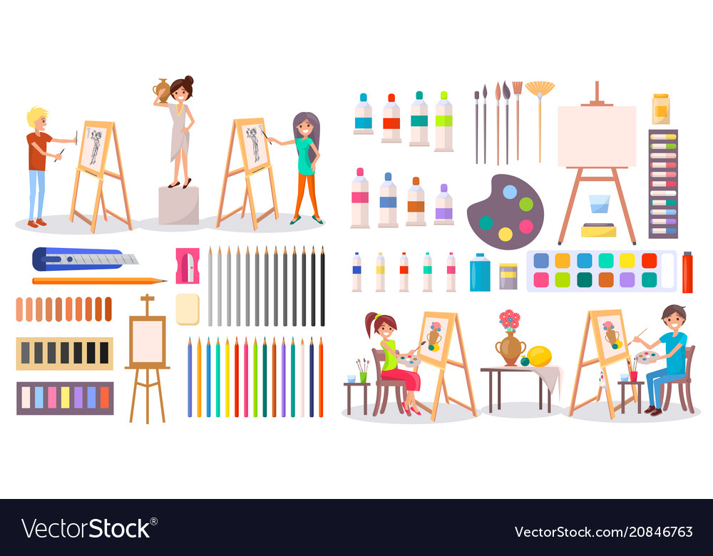artists at work and art supplies set royalty free vector