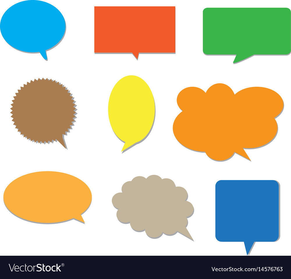 Blank empty colors speech bubbles
