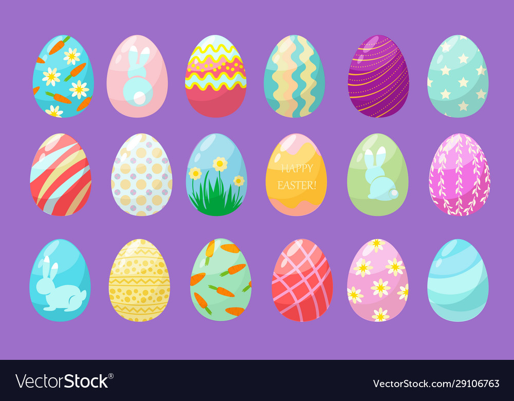 Colorful eggs happy easter celebration symbols
