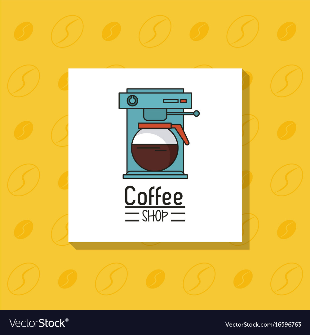 Colorful poster of coffee shop with coffee maker